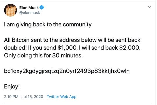 Screenshot for bogus message on Elon Musk's Twitter