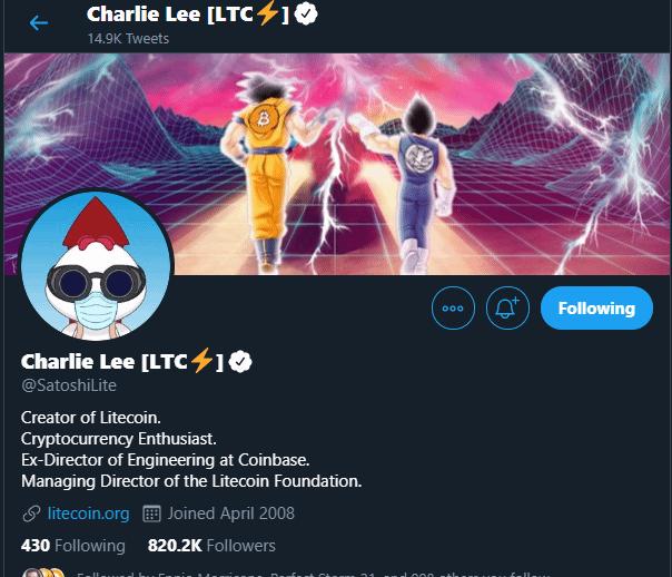 Litecoin Creator Charlie Lee - Twitter