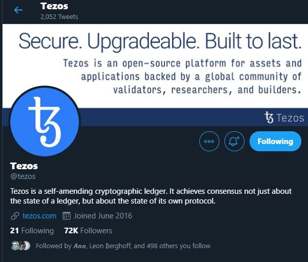 Tezos (XTZ) - Twitter