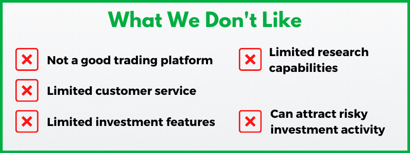 Here are Robinhood's worst attributes.